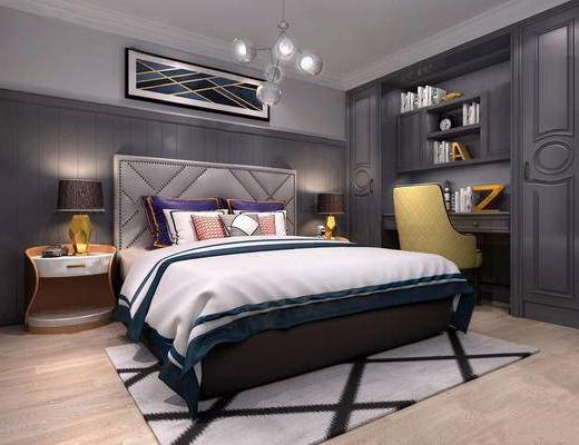 欧式简约, 卧室, 床具组合, 桌椅组合, 吊灯