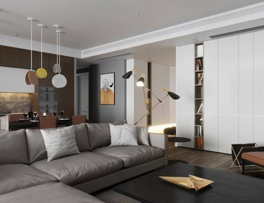 现代客厅, 多人沙发, 吊灯, 茶几, 桌子, 椅子, 壁画, 置物柜, 落地灯, 现代