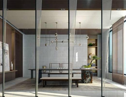 新中式茶室, 桌子, 椅子, 置物柜, 落地灯, 壁画, 吊灯, 盆栽, 新中式
