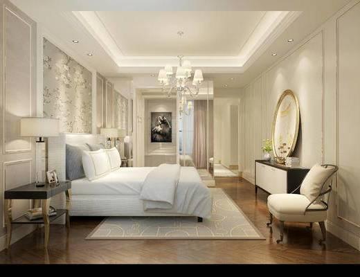 混搭风格卧室, 床, 吊灯, 壁画, 边几, 台灯, 边柜, 相框, 沙发单椅, 花瓶, 地毯, 混搭风格