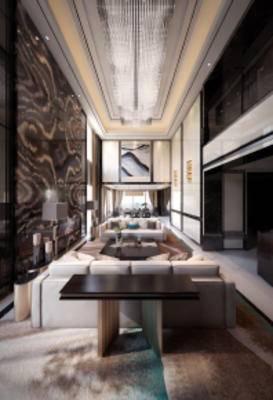 新中式别墅客厅, 沙发茶几组合, 壁画, 吊灯, 桌椅组合, 落地灯, 地毯, 新中式