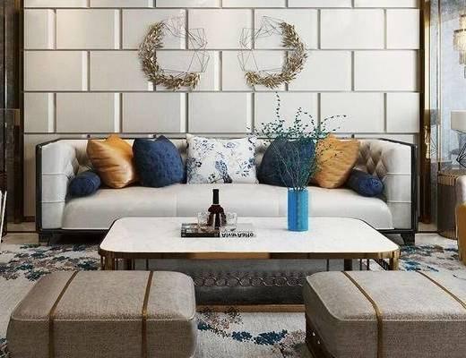 后现代, 客厅, 多人沙发, 茶几, 墙饰, 茶具, 吊灯, 台灯