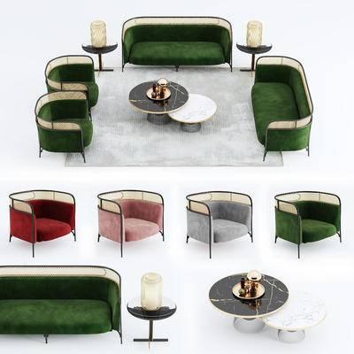 沙发组合, 多人沙发, 茶几, 椅子, 北欧