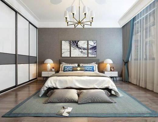 现代, 卧室, 吊灯, 床, 床头柜, 台灯, 地毯, 抱枕, 衣柜, 窗帘