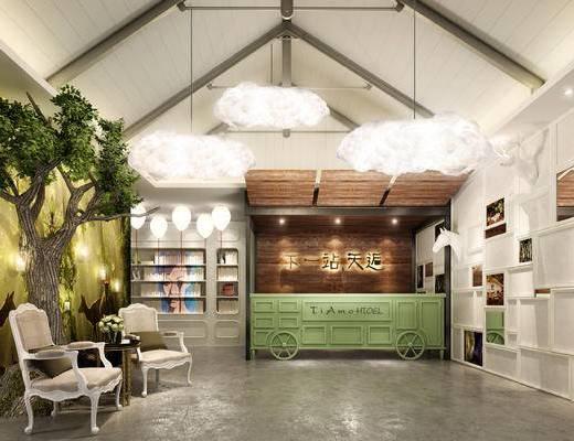 现代前台, 吊灯, 椅子, 边几, 置物柜, 现代