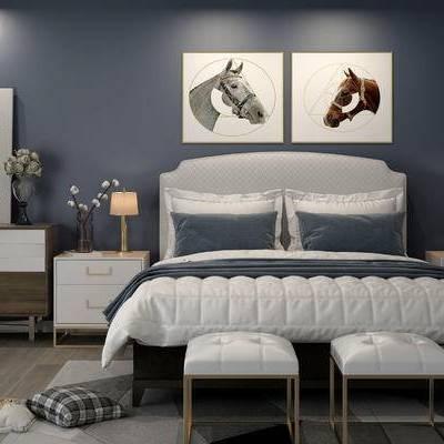 床具组合, 双人床, 床头柜, 台灯, 凳子, 边柜, 壁画, 现代