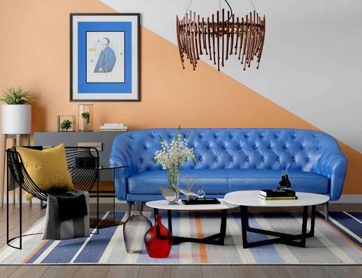 沙发组合, 多人沙发, 吊灯, 壁画, 椅子, 茶几, 边几, 盆栽, 花瓶, 北欧