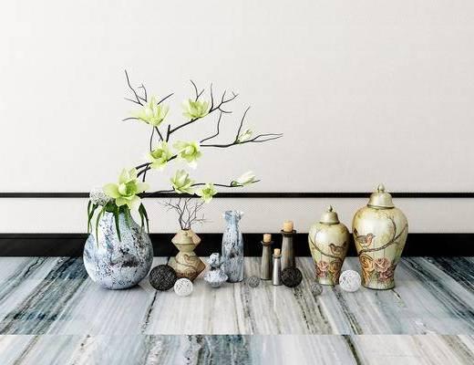 摆件组合, 花瓶, 花卉, 新中式