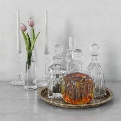 美式, 摆件, 酒瓶, 酒杯, 托盘, 玻璃杯, 花瓶