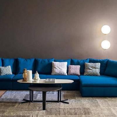 多人沙发, 壁灯, 茶几, 现代