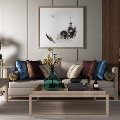 沙发组合, 多人沙发, 茶几, 椅子, 边几, 壁画, 新中式
