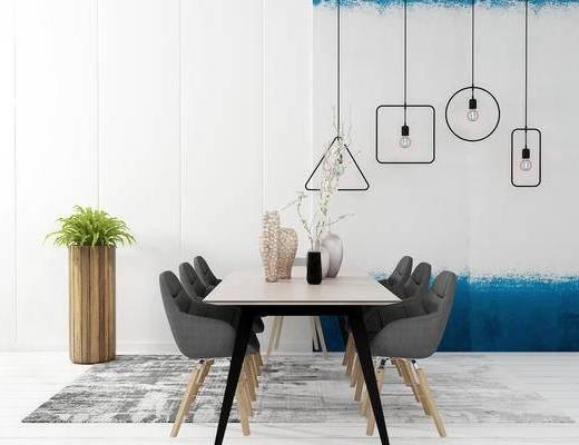 餐桌, 吊灯, 椅子, 盆栽, 现代