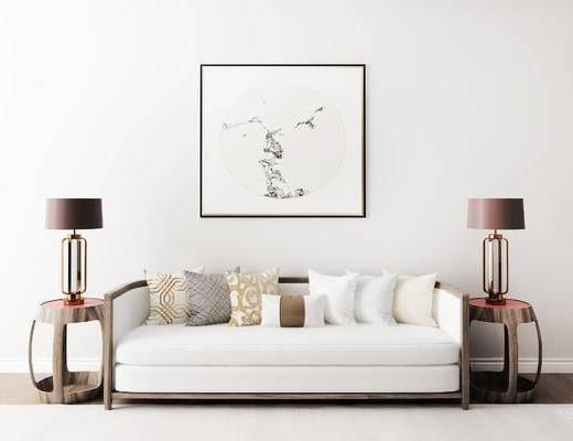 摆件组合, 多人沙发, 台灯, 壁画, 边几, 新中式