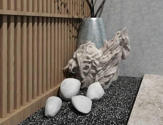 中式, 雕塑, 花瓶, 石头, 假山