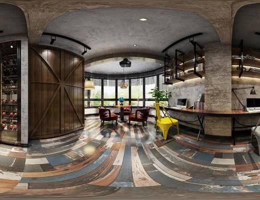 工业风会客厅, 桌子, 椅子, 酒柜, 茶几, 工业风