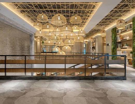 走廊过道, 吊灯, 置物柜, 新中式