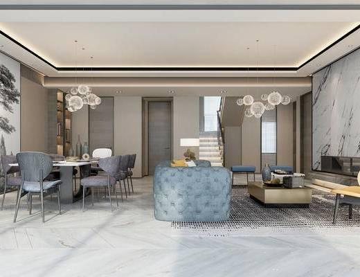 后现代客餐厅, 壁画, 多人沙发, 桌子, 椅子, 吊灯, 茶几, 台灯, 置物柜, 落地灯, 后现代