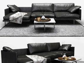 北欧简约, 黑色, 皮质沙发, 多人沙发, 沙发