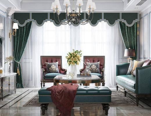 美式客厅, 吊灯, 美式沙发茶几组合, 电视柜, 壁灯, 边几, 台灯, 地毯, 单人沙发, 美式