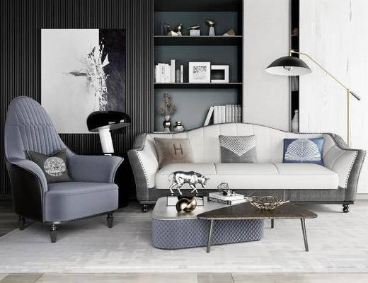 现代沙发组合, 多人沙发, 沙发椅, 茶几, 书架, 台灯, 落地灯, 现代