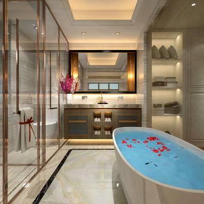 卫生间, 浴缸, 镜子, 洗手台, 淋浴间, 毛巾, 现代
