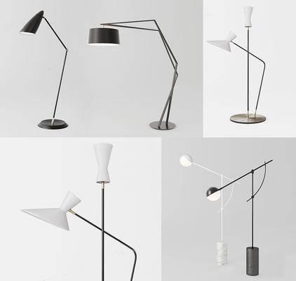 现代简约, 台灯, 黑色, 白色, 现代台灯
