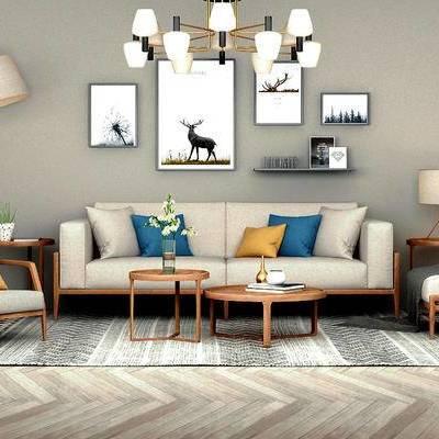 多人沙发, 边几, 台灯, 壁画, 吊灯, 茶几, 落地灯, 椅子, 地毯, 北欧
