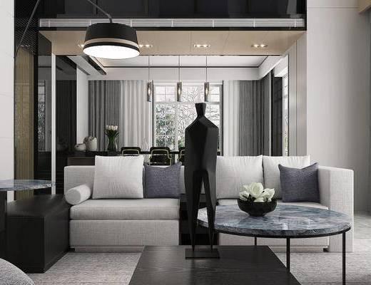 现代简约, 别墅, 客厅, 沙发茶几组合, 落地灯, 桌椅组合