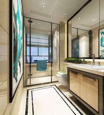 现代卫浴, 马桶, 洗手台, 淋浴间, 现代