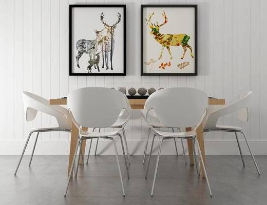 餐桌, 椅子, 壁画, 现代