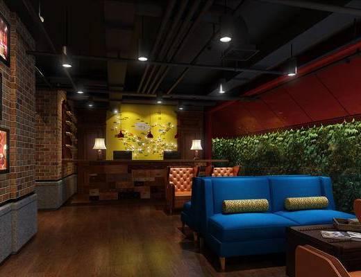 现代前台, 吊灯, 台灯, 壁画, 双人沙发, 茶几, 现代