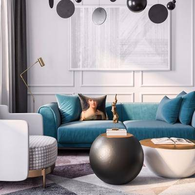 布艺沙发茶几组合, 茶几, 多人沙发, 单人沙发, 落地灯, 现代