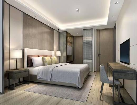 现代卧室, 双人床, 台灯, 椅子, 边柜, 桌子, 地毯, 现代