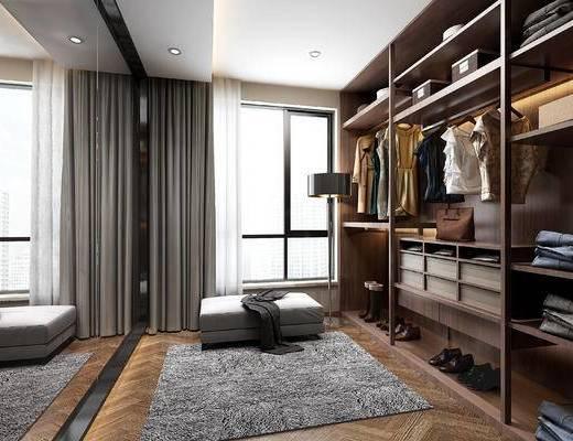 现代衣帽间, 衣柜, 衣服, 沙发凳, 地毯, 现代