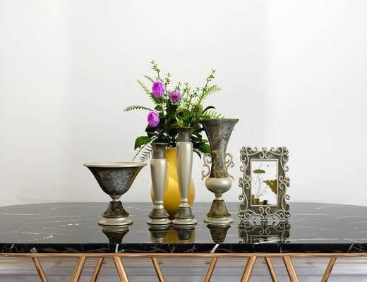 摆件组合, 花瓶, 桌子, 简欧