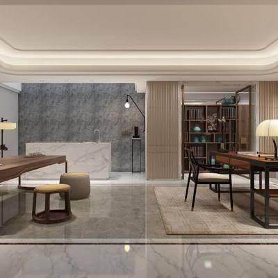 中式书房, 壁画, 桌子, 椅子, 壁灯, 台灯, 盆栽, 凳子, 落地灯, 置物柜, 边几, 中式