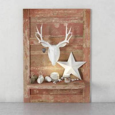 美式, 白色, 鹿角, 石头, 摆件, 装饰品