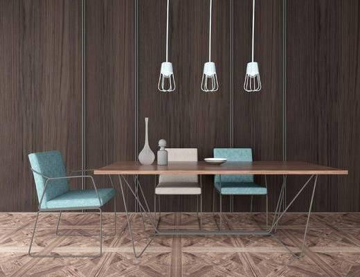 沙发组合, 桌子, 椅子, 吊灯, 北欧