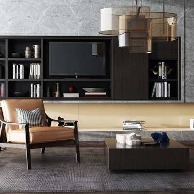 椅子, 置物柜, 茶几, 吊灯, 边几, 台灯, 现代