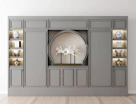 摆件组合, 书柜, 陶瓷器皿, 新中式
