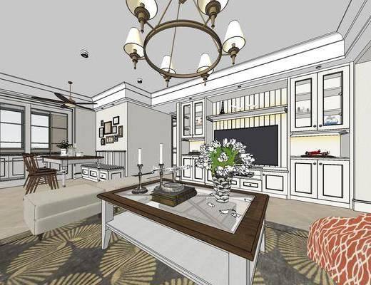 美式客厅餐厅, 吊灯, 电视柜, 茶几, 多人沙发, 椅子, 置物架, 沙发凳, 橱柜, 美式