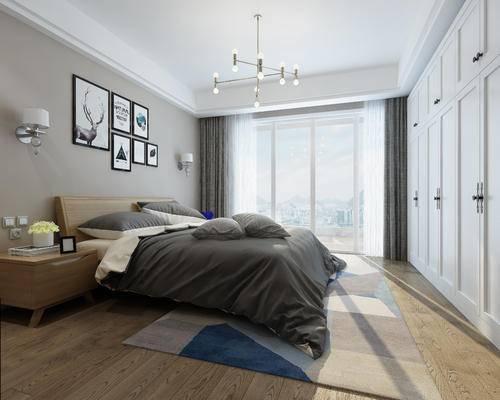 现代卧室, 吊灯, 双人车, 床头柜, 壁灯, 衣柜, 壁画, 现代