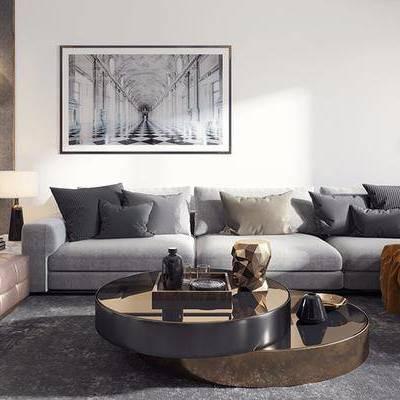 现代客厅, 壁画, 台灯, 多人沙发, 边几, 壁灯, 茶几, 吊灯, 地毯, 现代