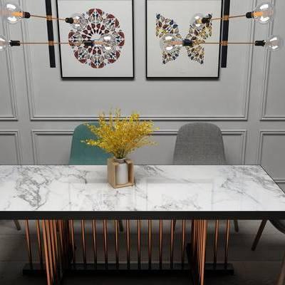 桌椅组合, 桌子, 椅子, 壁画, 吊灯, 现代
