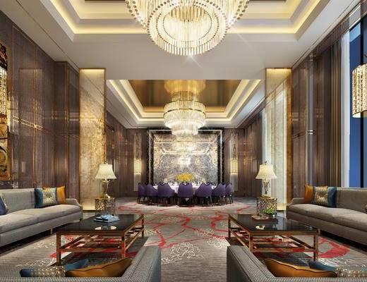 中式客厅, 多人沙发, 茶几, 椅子, 桌子, 吊灯, 边几, 台灯, 花瓶, 中式