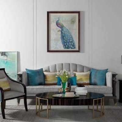 沙发组合, 多人沙发, 茶几, 椅子, 边几, 台灯, 壁画, 美式