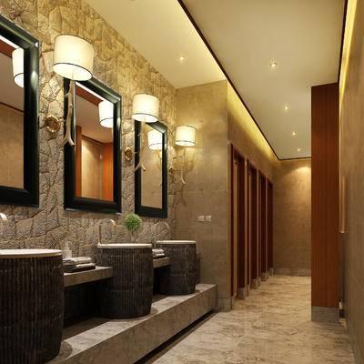 现代卫生间, 壁灯, 洗手台, 镜子, 现代
