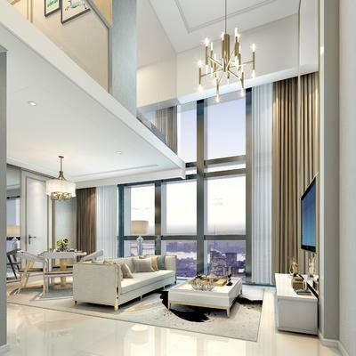 现代客厅, 吊灯, 多人沙发, 茶几, 桌子, 椅子, 电视柜, 落地灯, 现代