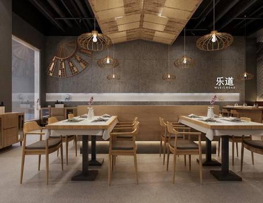 桌椅组合, 吊灯, 单椅, 墙饰