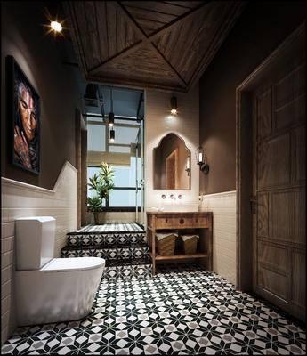 新中式卫浴间, 马桶, 壁画, 洗手台, 吊灯, 镜子, 壁灯, 盆栽, 新中式
